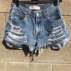 LEVI'S Costume Fat Ass Raw Cut Hi Rise Jean Shorts